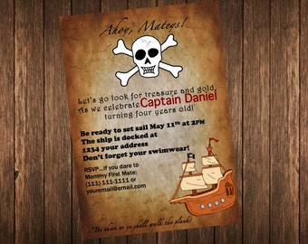 Pirate Invitation Birthday Party Invite Printable DIY Customized Personalized