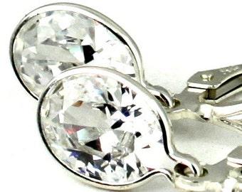 Cubic Zironia, 925 Sterling Silver Leverback Earrings, SE001