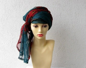 Vintage Floral Scarf Turban Headband Women Head Wrap Spring accessories