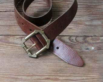 Wide Brown Leather Belt Rustic Brown Belt Wide  distressed belt Plain Leather Belt Buckle Goth Belt Grunge Belt Hippie boho belt