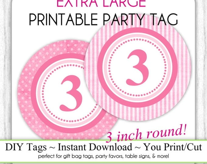 3 INCH - Pink Polka Dot Printable Party Tag & Pink Stripes 3rd Birthday Party Tag, Instant Download - 3 INCH - DIY Party Sign, Extra Large