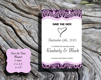 Pink Hearts Save the Date POSTCARD damask with envelope