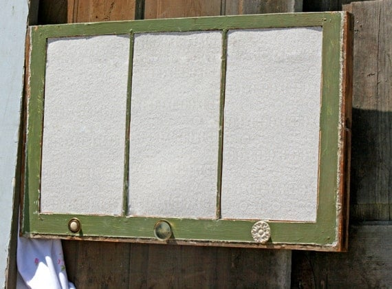 Upcycled repurposed recycled green window frame covered for Recycled window frames