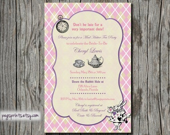Mad Hatter Tea Party Bridal Invitations