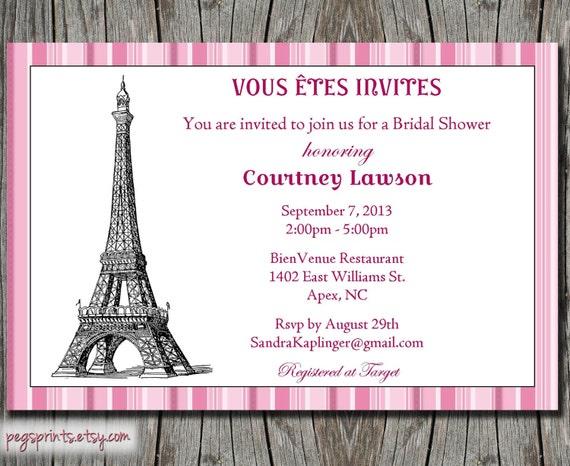 Paris theme bridal shower invitation printable by pegsprints for Paris themed invitations bridal shower