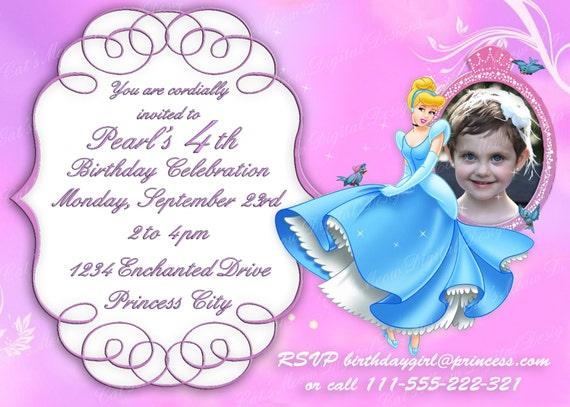 cinderella princess printable birthday invitation, personalized, Birthday invitations