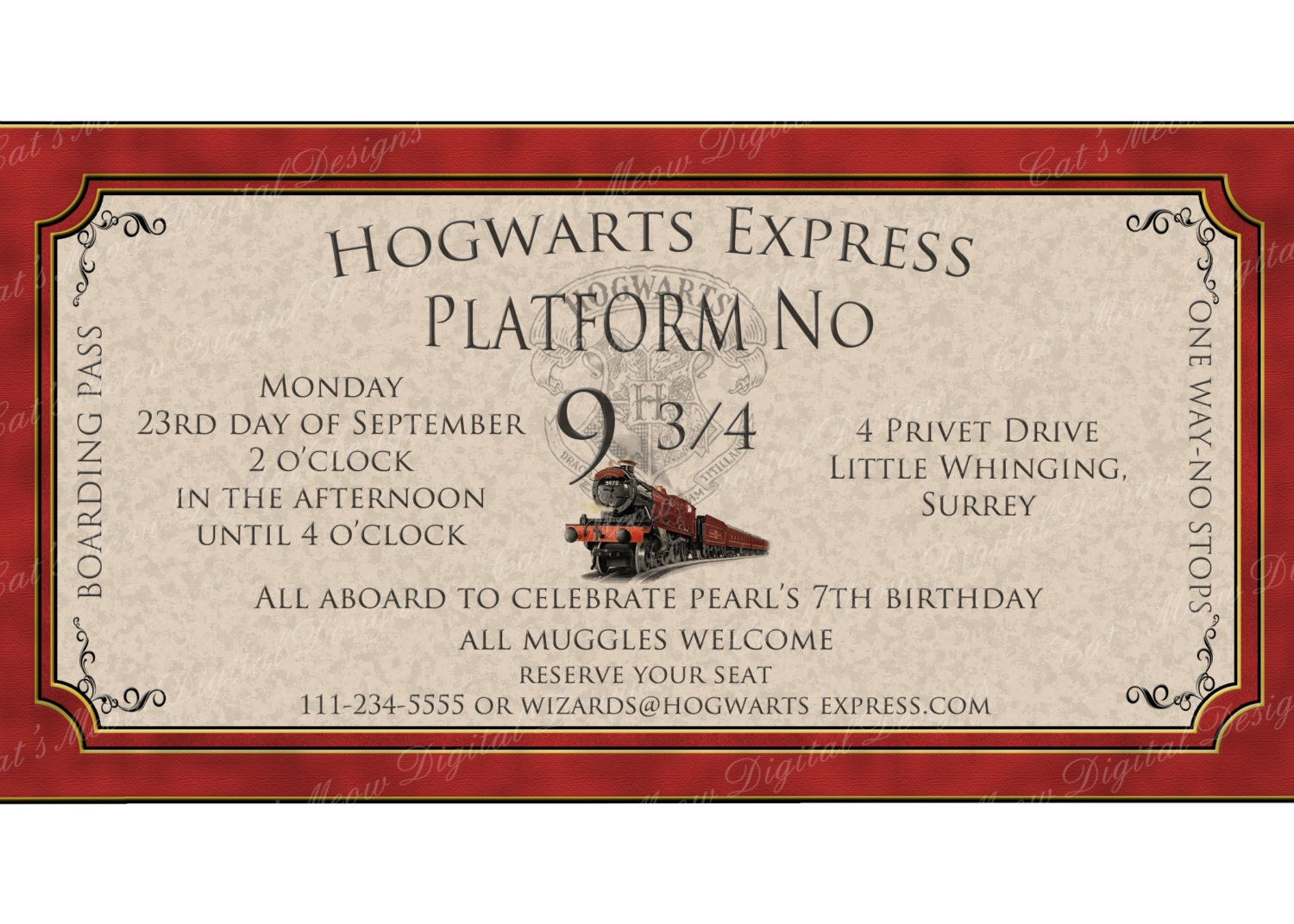 Hogwarts Harry Potter Printable Invitation by CatsMeowDDesigns