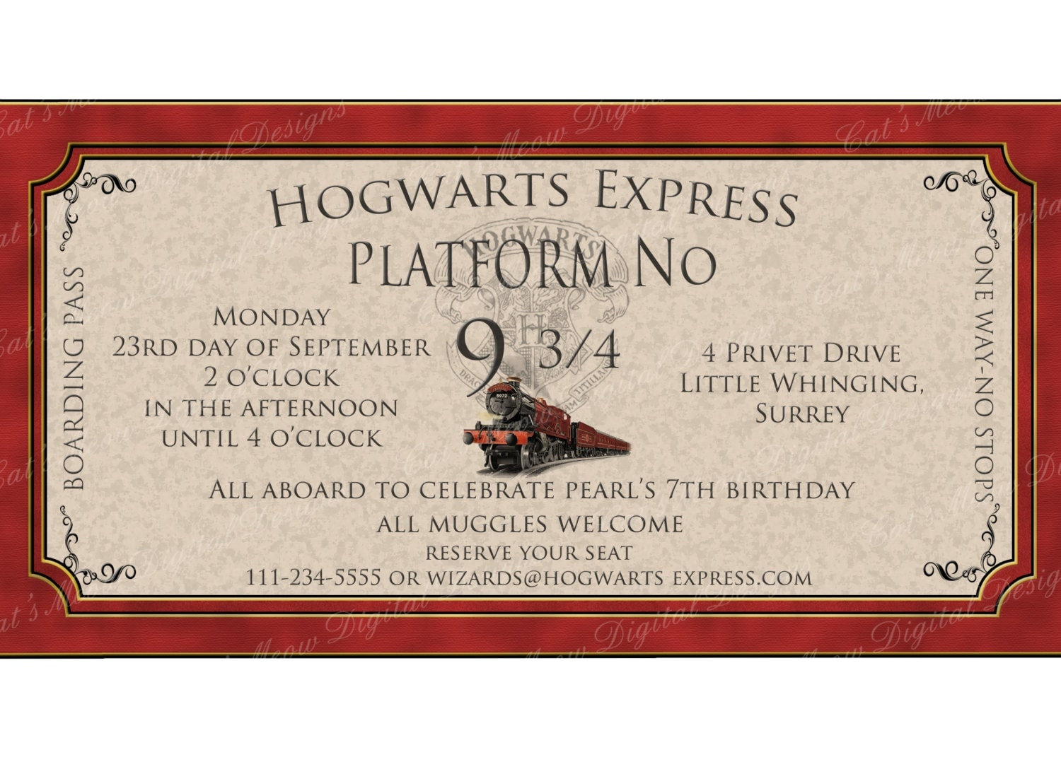 Harry Potter Birthday Cards Free Printable ~ Hogwarts harry potter birthday invitation printable