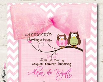 Owl Baby Shower Invitation Couples Girl