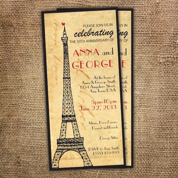 wedding invitation paris theme anniversary invitation