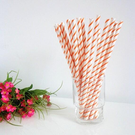 Paper Straws-50 Peach coral Orange Thin Striped Paper Drinking Straws Cake Pop Sticks White Drinking Straws-Barber Straws-Milk Bottle Straw