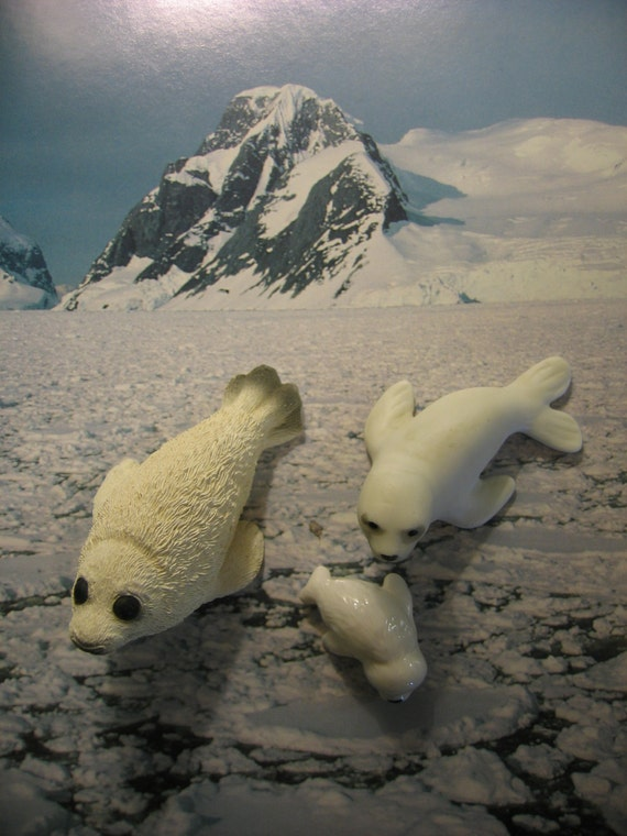 Instant Collection Miniature Harp Seals, Set of Three Vintage Arctic Scene Stealers