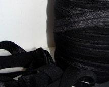 Elastic Ribbon Fold Over Ponytail 5/8'' (15mm) Black