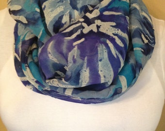 Navy turquoise blue white Chiffon Infinity Circle Loop Eternity Scarf