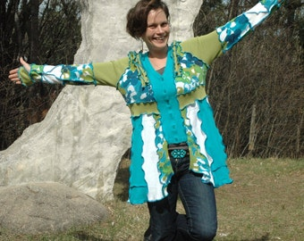 Recycled sweater...Lily on the Lagoon---Gorgeous on-of-a-kind upcycled cardigan from Sofie's Softies.