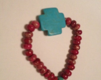 Turquoise Cross and Imperial Jasper Bracelet by Ashley Marie