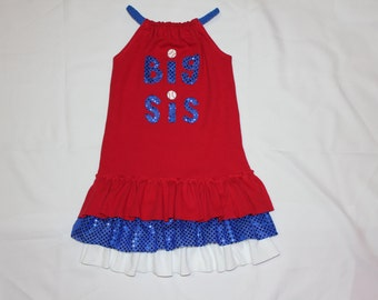 Big Sis/Lil Sis baseball ruffle dress