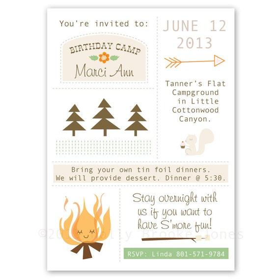 Camping Theme Invitations: Items Similar To Custom Camping Birthday Invitations