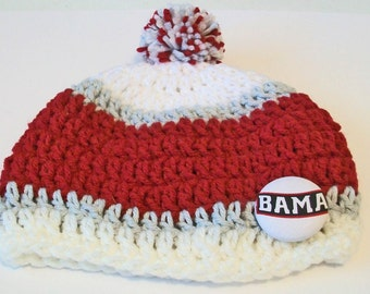 Crimson and White Bama Inspired Crocheted Baby and Childrens Pom Pom Hat Great Photo Prop 5 Sizes Available