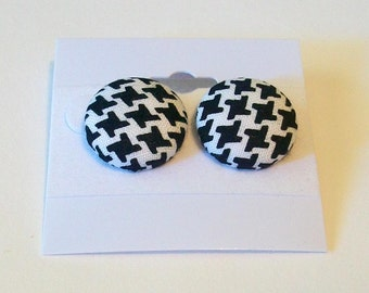 Fun Black and White Houndstooth Print Fabric Button Pierced Earrings