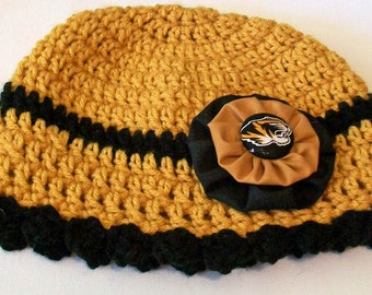 Missouri Tigers Gold and Black Hand Crocheted Baby and Childrens Scalloped Edge Hat Great Photo Prop 5 Sizes Available