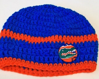Gators Inspired Orange and Blue Hand Crocheted Baby and Childrens Beanie Hat Great Photo Prop 5 Sizes Available