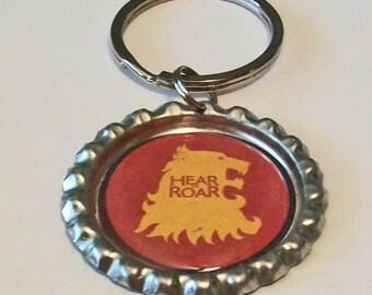 Game of Thrones Inspired House Lannister Hear Us Roar Metal Flattened Bottlecap Keychain