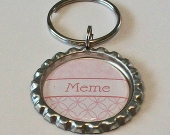 Pale Pink Meme Grandmother Metal Flattened Bottlecap Keychain Great Gift