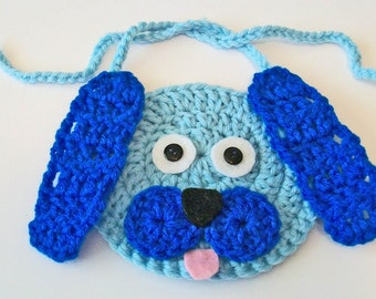 So Cute Hand Crocheted Blue Puppy Dog Baby Bib Great Photo Prop Matching Hat Also Available