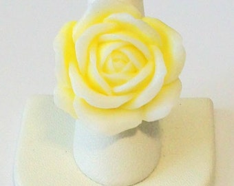 Trendy Large Ombre Pale Yellow and White Rose Fashion Ring Adjustable Band