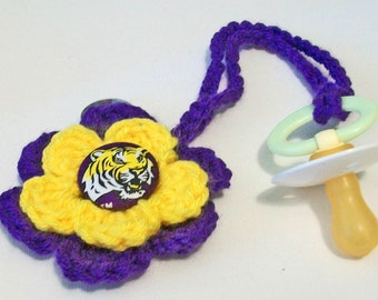 Fun Hand Crocheted Flower Shaped LSU Tigers Inspired Button Pacifier Clip