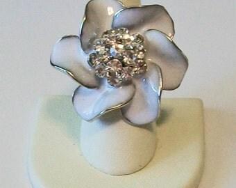 Large White Enamel Flower with Rhinestone Center Fashion Ring Adjustable Band