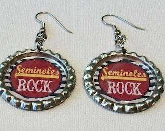 Garnet and Gold Zebra Stripe Seminoles Rock Metal Flattened Bottlecap Dangle Earrings