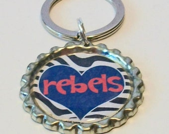 Zebra Print Red and Blue Rebels Heart Ole Miss Inspired Metal Flattened Bottlecap Keychain
