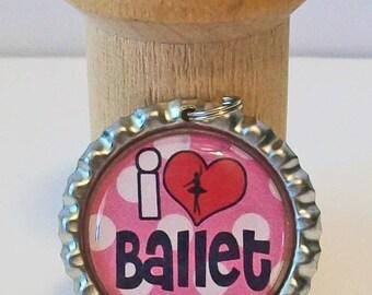 Cute Pink and White Polka Dot I Heart Ballet Flattened Bottlecap Pendant Necklace