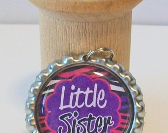 Fun Little Sister Zebra Print Pink and Purple Flattened Bottlecap Pendant Necklace