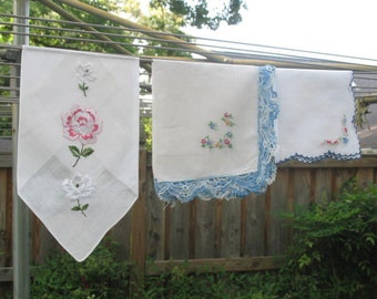 Lovely set of 3 floral hankies along with embroidery and crochet on one -- white blue