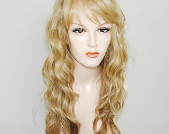 Light ash blonde ombre mix with light blonde / long loose deep wave wig