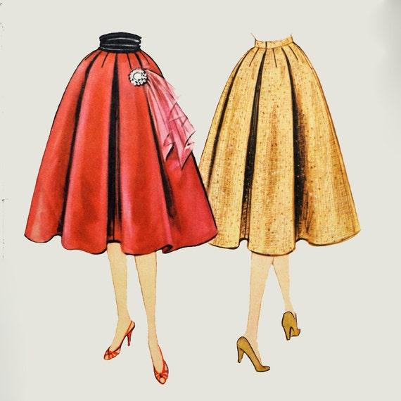 Vintage 50s Skirt Pattern / Full Pleated Skirt Pattern /