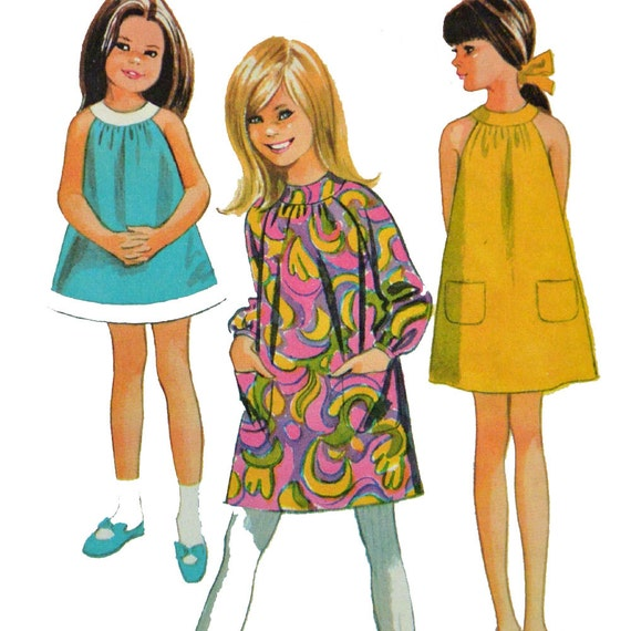 Vintage 60s Girls Dress Pattern / Mod Tent Dress Pattern / Girls Sun Dress Pattern / McCalls 8707 Uncut Factory Fold / Girls Size 6