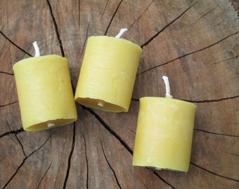 "Beeswax Candles, Votive, Handmade, Size: 1 1/2"" Diameter x 2"" Tall - Listing is for one candle ."