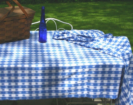 Vintage Picnic Tablecloth Blue And White Tablecloth