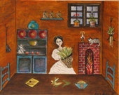 Frida Kahlo orange kitchen series Original painting by Dona Silver.Cats. Corn harvest. Mexican decor. Oil Acrylic mix painting