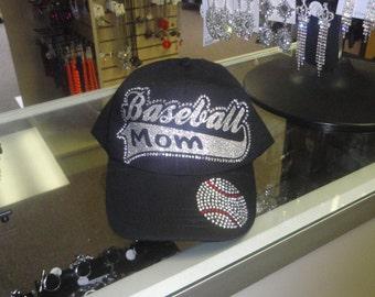 Baseball Mom Cap, Baseball Mom rhinestone Hat, Baseball Hat