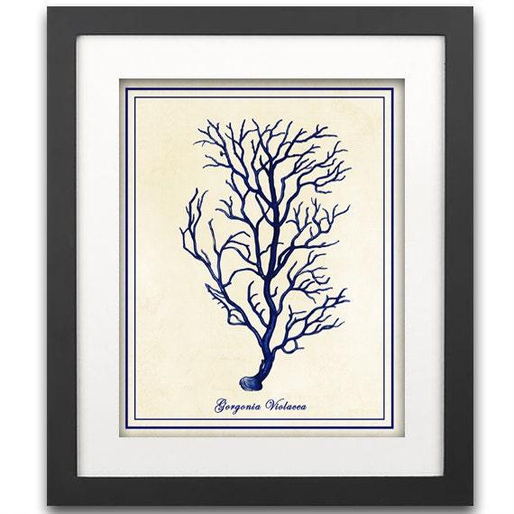 Large Nautical Wall Decor : Large blue coral wall art print nautical branch