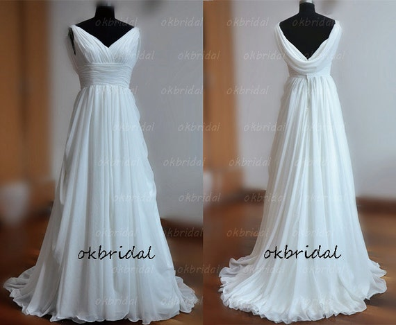 beach wedding dress, beach wedding gown, chiffon wedding dress, white wedding dress, cheap wedding dress, RE213