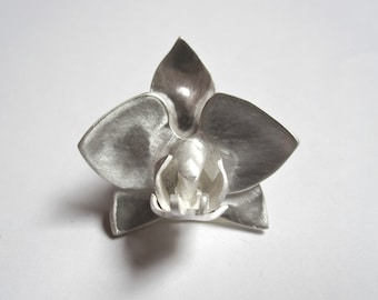 Handmade Silver Orchid Pendant.