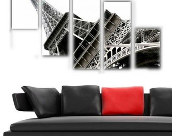 5 Pieces Canvas Art - Eiffel Kanvas Tablo Saat
