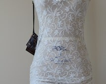 Ivory Scoop Neck Stretch Lace Dress w/ Adjustable Side Cinches