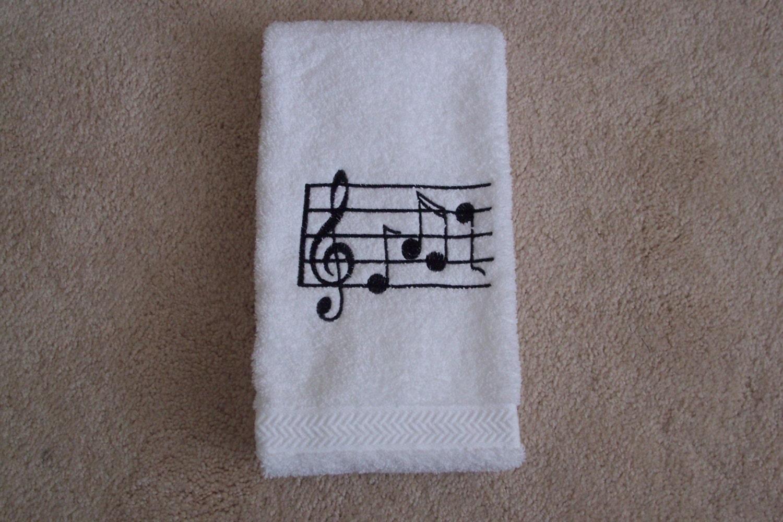 bath hand towel embroidered musical notes bathroom decor. Black Bedroom Furniture Sets. Home Design Ideas